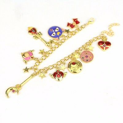 Sailor Moon Luna Moon Stick Metal Pendant Charm Bracelet Anime Cosplay Gift New