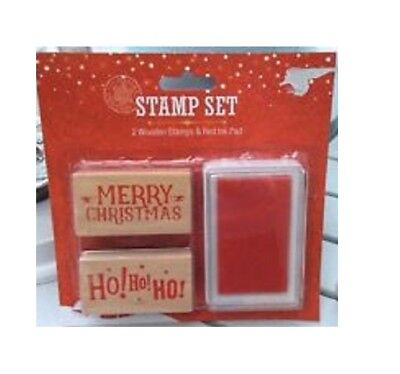 Xmas Wooden Merry Christmas Ink Stamp Set Craft Card Making Red Ink  Gift Kids