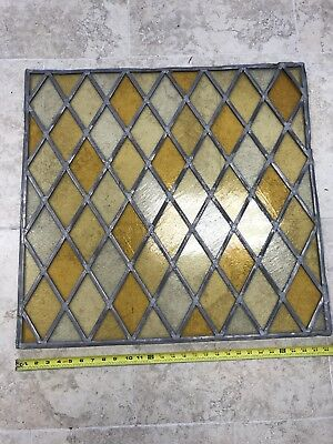 Large Leaded Stained Glass Window Diamond Ornate Style Yellow Gold Home Decor!