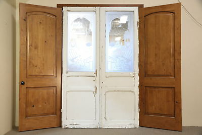 "Architectural Salvage Pair Antique 98"" Doors, Etched Glass w/ Birds, Belgium"