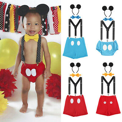 Baby Boy Toddler Mickey Mouse First Birthday Cake Smash 4PCS Set Outfits Clothes