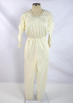 Vtg 80s White Rhinestone Jumpsuit One Piece Disco Club Dance Cut Out Sleeve S