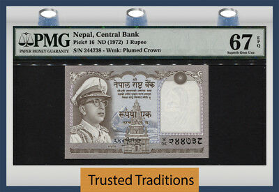 Tt Pk 16 1972 Nepal 1 Rupee Pmg 67 Epq Superb Gem Unc Pop Two None Finer 2 Of 2!