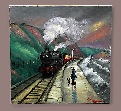 Northern Artist James Downie Large Original Oil Painting Art 'along The Sea Wall