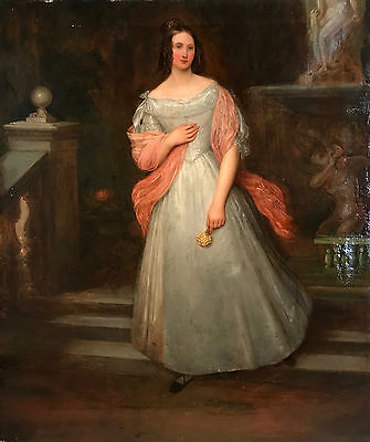 Large Antique 18th Century English school Oil Painting 'Portrait of a Lady'