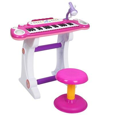 Kids Children 37-Key Electronic Piano Toy with Microphone & Stool Blue/Pink Gift