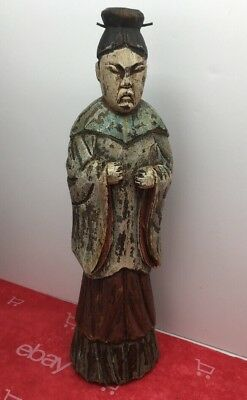 """Antique Large Japanese Man Carved Wood Statue Figurine W/ Traditional Dress 10"""""""
