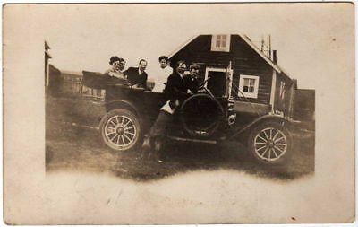 Automobile Auto Car People Dog Rppc Photo Postcard