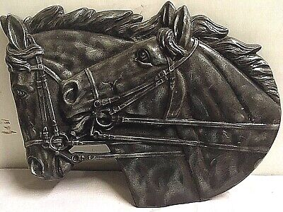 Vintage Ceramic Mold Art Plaster Wall Plaque 2 Horses 1979 gray glaze Large