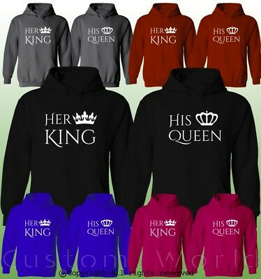 Her King His Queen Couple Hoodies His And Hers New Color Matching Sweatshirts