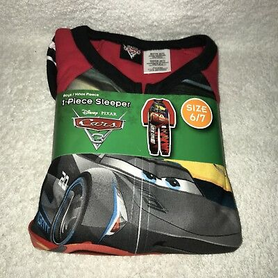 Disney Pixar Cars 3 Boys 1 Piece Zip Fleece Pajama Sleeper Size 6-7 NEW
