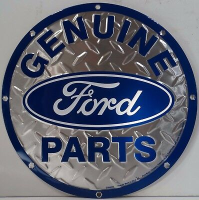 "Genuine Ford Parts Logo Steel Look Round 12"" Metal Sign"