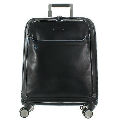 PIQUADRO BLUE SQUARE Cabin Trolley in leather BLACK
