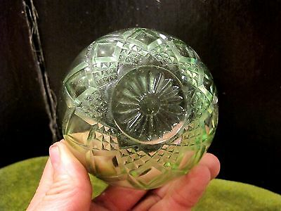 Vintage Glass Custard Cup Bowl Dish Green Depression Cut