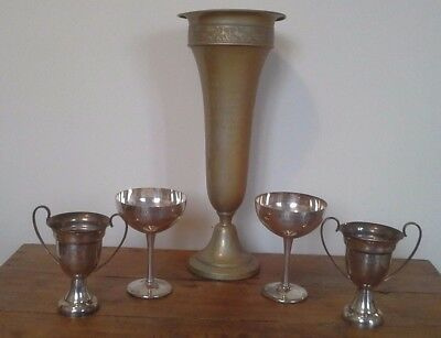 vintage collection of silver plate trophies, trophy, sporting trophy, antique