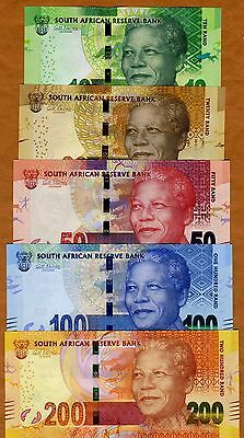 SET South Africa 10;20;50;100;200 rand, ND (2012-2016) P-133-134-135-136-137 UNC