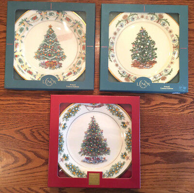 LOT OF 3 Lenox Christmas Trees Around the World Plates 1994 1998 2002 with Boxes