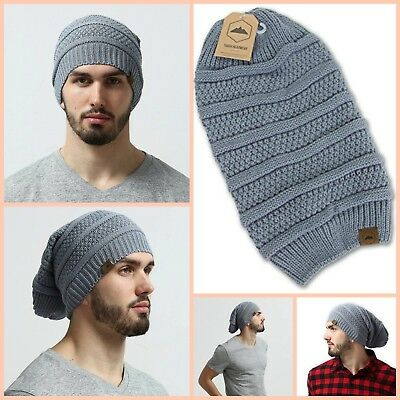 Oversized Slouchy Beanie Hat Cable Knit Chunky Men Women Warm Soft Winter Gray