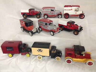 Lot of 9 Massey Ferguson dealership delivery truck money coin banks farm tractor