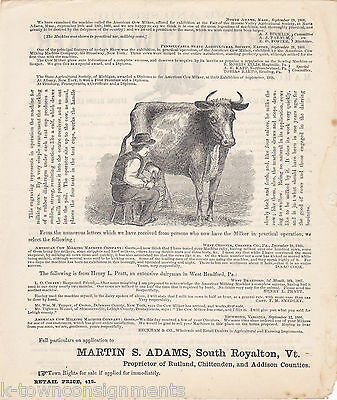 American Cow Milker Antique Engraving Broadside Poster Dairy Advertisement