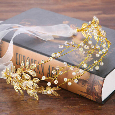 Golden Wedding Tiara Pearl Wedding Crown with Golden Leaves Hairbands