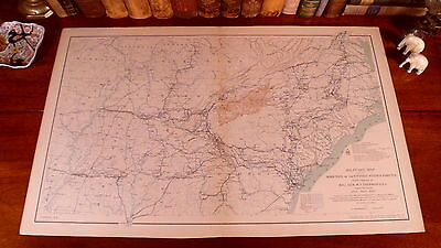 Original Antique CSA US Civil War Military Map SHERMAN'S MARCHES of 1863-1865