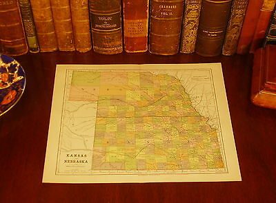 Original 1890 Antique Map NEBRASKA KANSAS Omaha Norfolk NE Wichita Topeka KS