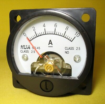 Current Panel Meter 10 Amp Analog Round Direct Display DC 10A  Amps SO45 12V  AJ