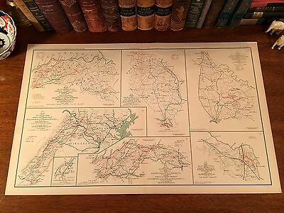 Original Antique CSA US Civil War Map BATTLE of WILDERNESS Stuart's Cavalry