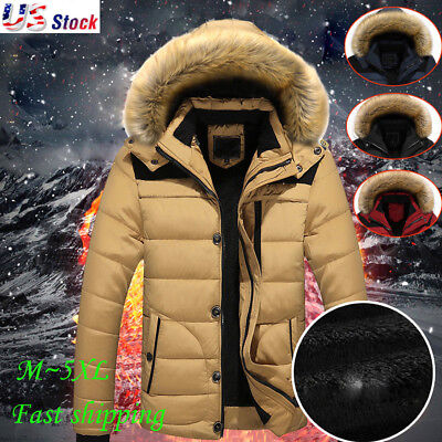 2018 Men's Fur Collar Hooded Parka Winter Thicken Down Coat Outwear Jacket Warm