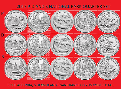 2017 America the Beautiful Quarter P, D, & S 15 Coin Set UNC