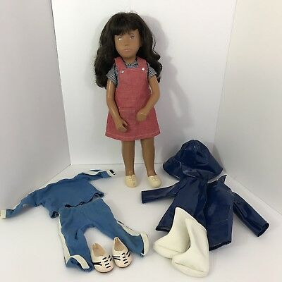 Sasha Made in UK #111 Red Pinafore Brunette Doll With Two Outfits 1980 Vintage