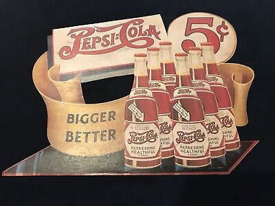 "Vintage Pepsi Cola 5 Cents Die Cut Cardboard 6 Bottle window Sign HTF 15""x19"""