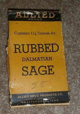 Old Antique Advertising Allied Rubbed Sage Box Unopened Vintage NOS