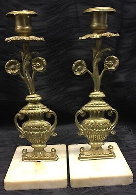 Atq Rare Brass on Marble Matching Candlestick Pair Flowers Vase Victorian?