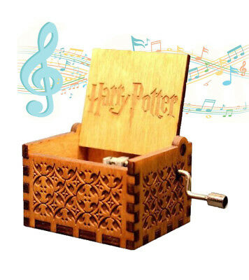 Retro Harry Potter Engraved Wooden Music Box Interesting Toys Xmas Gifts US