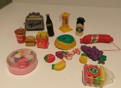 Vintage Eraser food & drink Lot rubbers erasers collectable rare 80's & 90's