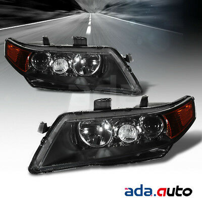 Acura TSX Black Projector Factory Style - 2006 acura tsx headlights