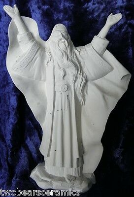 Ceramic Bisque Ready to Paint Wizard casting a Spell