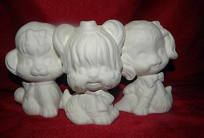 Ceramic Bisque Ready to Paint 3 x Cute Little Puppy  Dogs