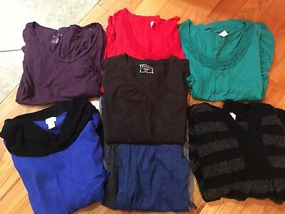 Lot Of 7 LS Maternity Sweaters & Shirts  motherhood, old navy, more size Med.