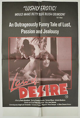 LAW OF DESIRE (1987) Double Crown Film Poster - Pedro Almodovar, Carmen Maura