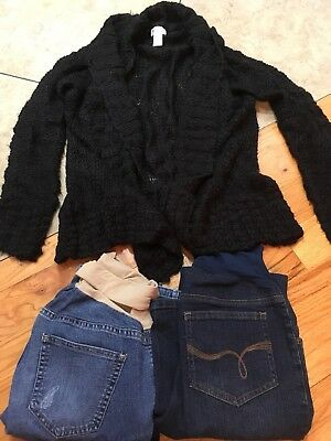 Lot Of 3 Size Small Maternity Jeans & LS Sweater. Oh baby Motherhood old navy .