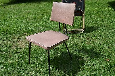 1956 pink vinyl metal Dinette Kitchen Chair-mid century modern!