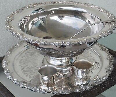 Newly Reduced Vintage Silver-Plate Punch Bowl, Grape Pattern, 12 Cups/tray/ladle