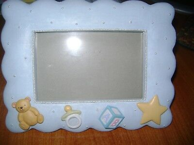 baby nursery picture frame ceramic light blue 4x6