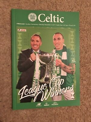 Celtic v Motherwell Dec 2nd 2017 Special Final Issue Mint GP