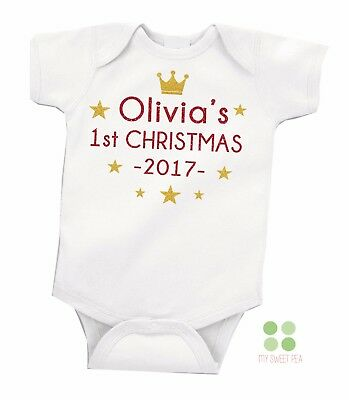 Personalised FIRST 1st CHRISTMAS Baby Girl Boy Grow Vest Free P&P