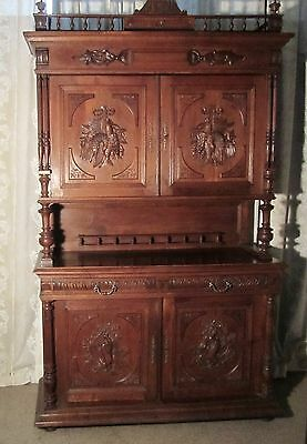 Large French Buffet de Corp, Carved Oak Game Cupboard