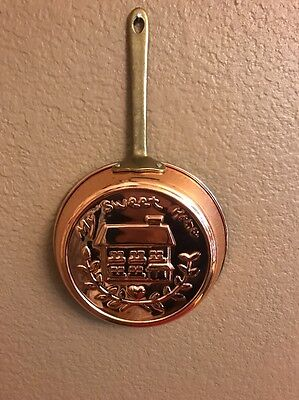 Vintage Brass & Copper Wall Hanger Pan SPELLS OUT : MY SWEET HOME